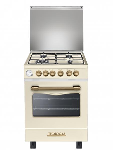 Fogão Tecnogas creme  decorativo forno elétrico