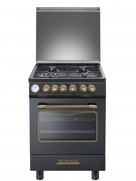 Fogão Tecnogas preto decorativo forno elétrico 60 cms