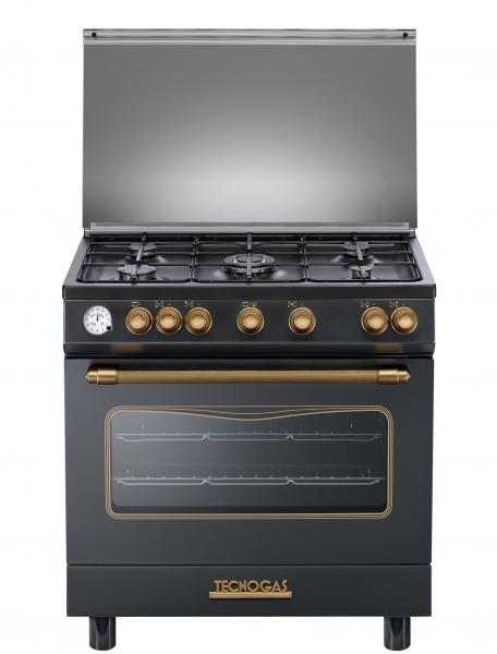 Fogão Tecnogas preto Decorativo forno elétrico 80 cms
