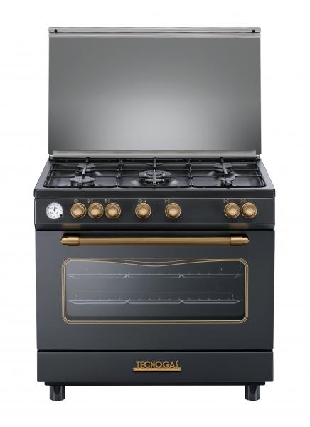 Fogão Tecnogas preto DECO 90 cms forno a gás