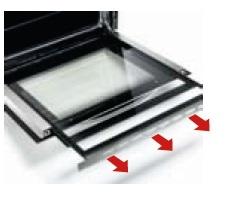 Porta do forno com vidro interior extraível