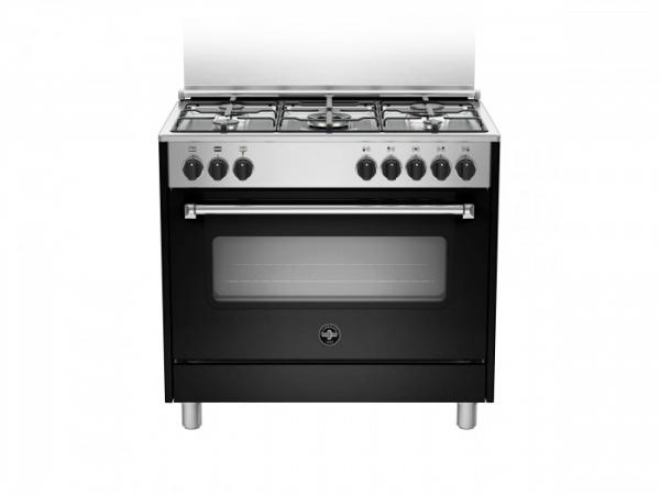 Fogão semi profissional 90 cms preto forno elétrico